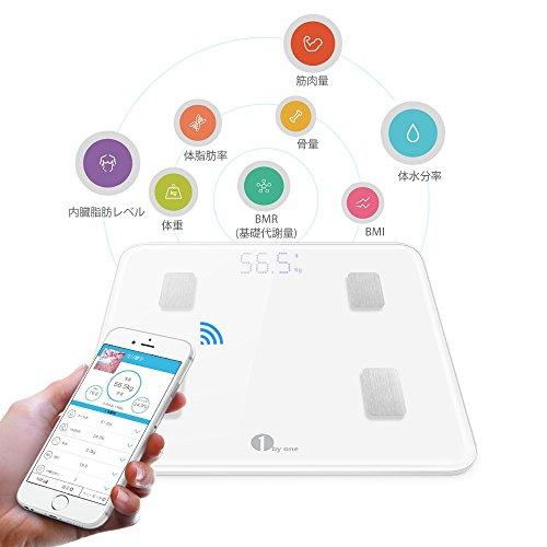 1byone 体重·体組成計·体脂肪計 スマートスケール 体重 / 体脂肪率 / 体水分率 / 推定骨量 / 基礎代謝量 / 内臓脂肪レベル / BMIなど測定可能 Bluetooth対応 iOS / Androidアプリで健康管理 赤ちゃんの体重計算可能