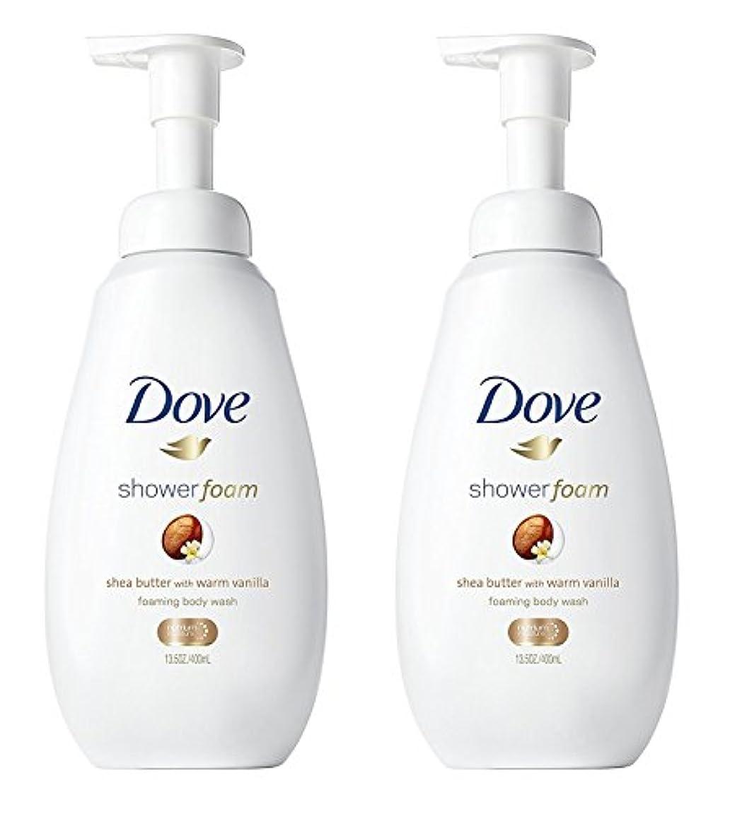 フロー離れて特殊Dove シャワー泡 - ウォームバニラシアバター - - ボディウォッシュを発泡ネット重量。ボトルあたり13.5液量オンス(400ml)を - 2本のボトルのパック