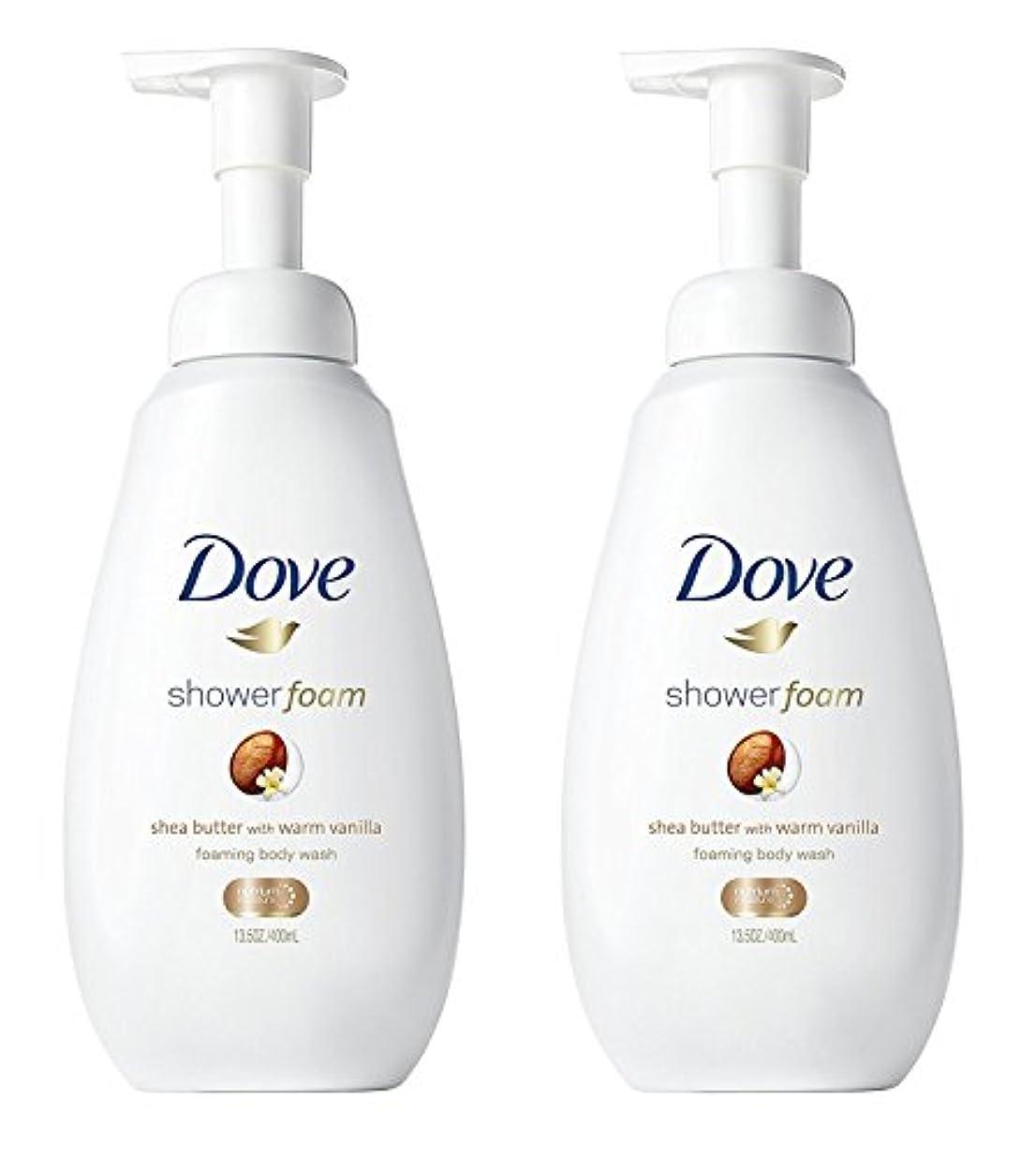 対応するカウントアップ静かにDove シャワー泡 - ウォームバニラシアバター - - ボディウォッシュを発泡ネット重量。ボトルあたり13.5液量オンス(400ml)を - 2本のボトルのパック