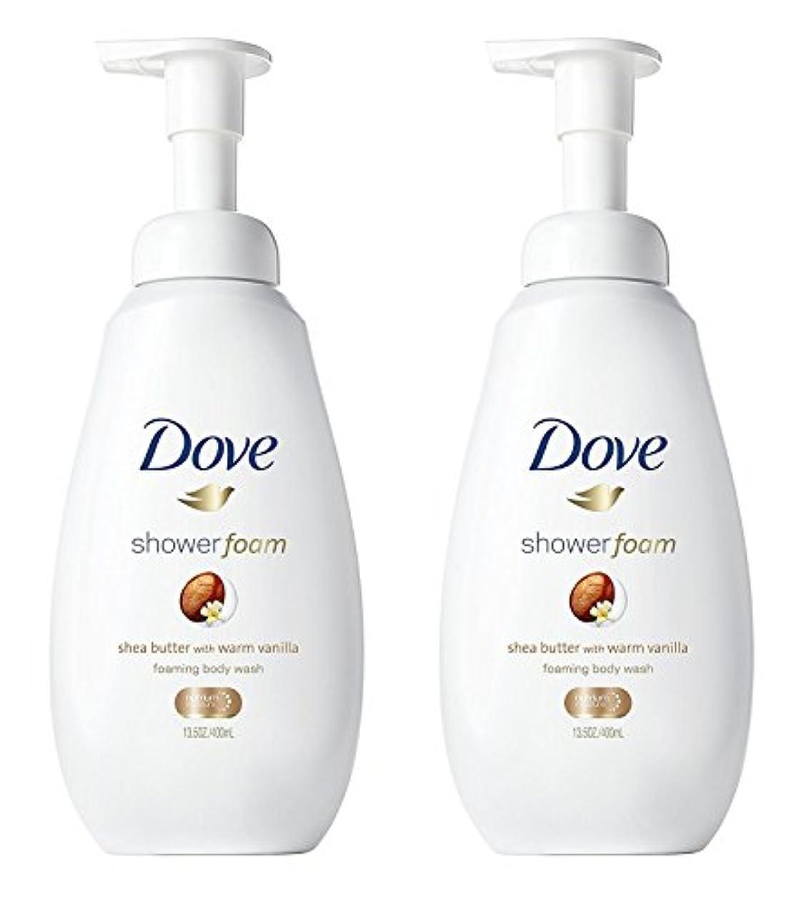 サンプル福祉構造的Dove シャワー泡 - ウォームバニラシアバター - - ボディウォッシュを発泡ネット重量。ボトルあたり13.5液量オンス(400ml)を - 2本のボトルのパック