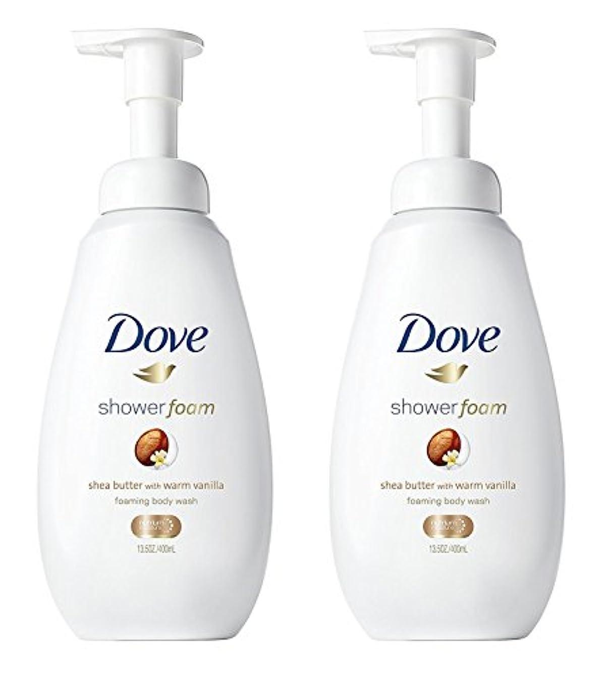 楽しい素晴らしき平行Dove シャワー泡 - ウォームバニラシアバター - - ボディウォッシュを発泡ネット重量。ボトルあたり13.5液量オンス(400ml)を - 2本のボトルのパック