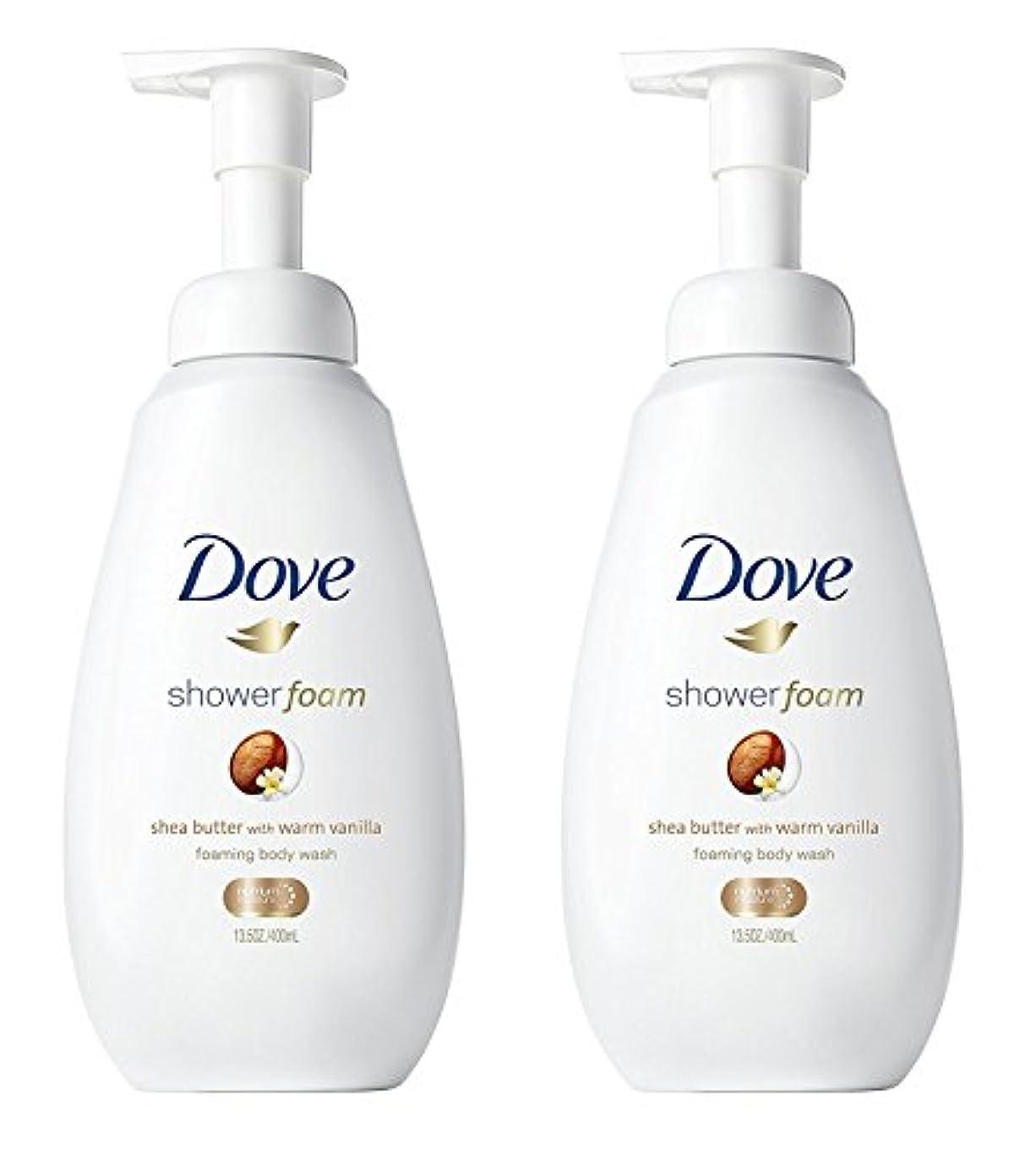 怖がらせる装置伝記Dove シャワー泡 - ウォームバニラシアバター - - ボディウォッシュを発泡ネット重量。ボトルあたり13.5液量オンス(400ml)を - 2本のボトルのパック