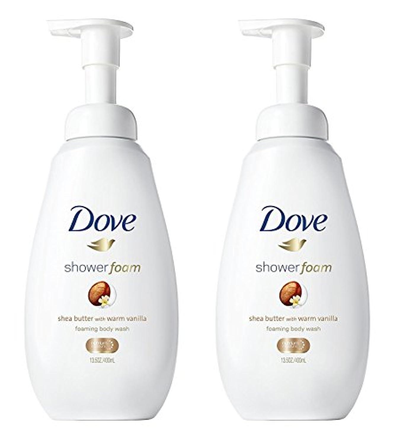 簡略化するブースト岸Dove シャワー泡 - ウォームバニラシアバター - - ボディウォッシュを発泡ネット重量。ボトルあたり13.5液量オンス(400ml)を - 2本のボトルのパック