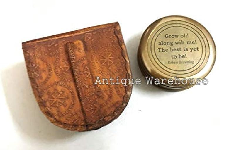 トンネル足首昇進アンティークハウス マリン真鍮コンパス ポケットケース付 成長期 WIT ME 刻印真鍮コンパス レザーケース付き 指向性磁気コンパス
