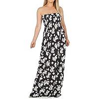 6c08e034881 Rimi Hanger Womens Floral Print Gathered Boobtube Dress Ladies Bandeau  Sheering Maxi Dress Small XX