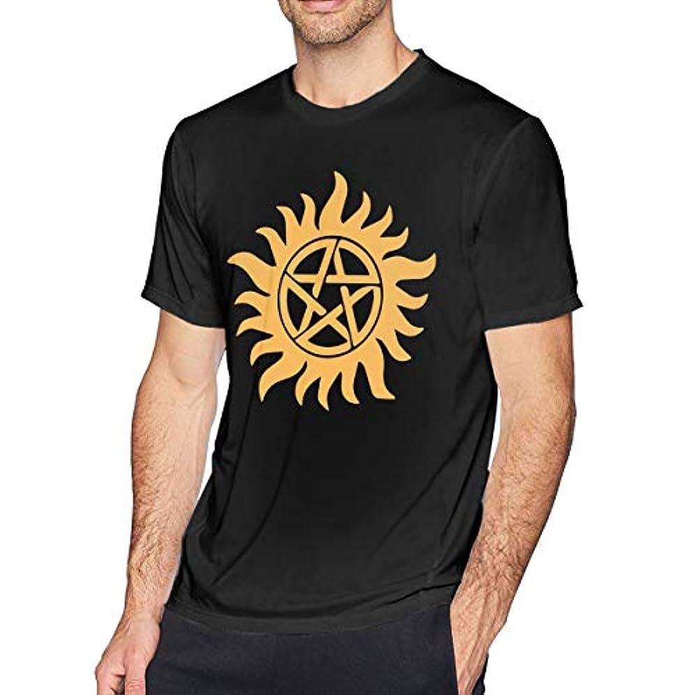 肥料ドット日常的に男の 半袖の純綿のシャツ, おしゃれな 五角星の太陽 スポーツTシャツ 対する男, 円襟