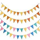 4本入り ガーランド フラッグ フェルト製 三角旗 カラフル パーティー 運動会 文化祭 幼稚園 店舗 子供部屋飾り 写真の小道具(2色) ATPWONZ