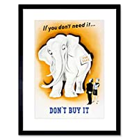 ヴィンテージAd War Money Saving ThriftホワイトElephantショッピングFramed Print f12 X 6028 12-Inches x 16-Inches ブラック F12X6028_Black
