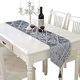 レース テーブルランナー ホームデコレーション 北欧 スタイル シンプル 工芸品 おしゃれ 長方形 エレガント (Color : Gray)