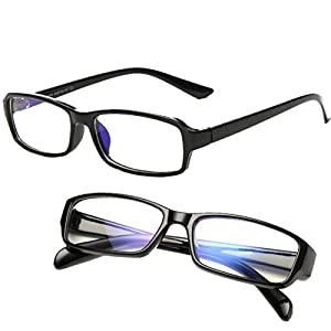 パソコン用眼鏡 PCメガネ ブルーライト 青色光 UV カット メンズ レディース クリーンクロス ケース セット クリアレンズ ブラックフレーム(ツヤ有)