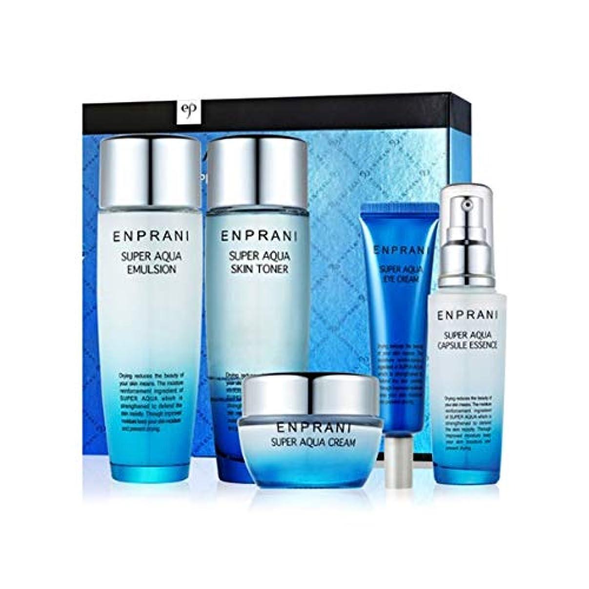 指導する圧縮ウェーハエンプラニスーパーアクアスキンケアセット(トナー150ml、エマルジョン150ml、クリーム50ml、アイクリーム30ml、エッセンス55ml) Enprani Super Aqua Skin Care Set(Toner...