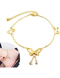 Butterfly Rose Gold Anklet, Temperament Elegant Hollow Butterfly Pendant Flash Drill Tassel Design Anklet, Girl Summer Yoga Beach Barefoot Foot Jewelry Accessories Love Gift 1Pcs