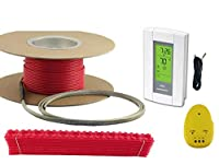 80 Sqft Cable Set, 240 Volt, Electric Radiant Floor Heat Heating System with Aube Digital Floor Sensing Thermostat by Warming Systems
