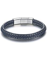 COAI Adjustable Size Stainless Steel Clasp Vintage Blue Genuine Leather Mens Bracelet