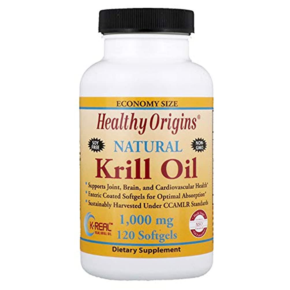 家畜原子音楽を聴くHealthy Origins Krill Oil Natural Vanilla Flavor 1000 mg 120 Softgels 【アメリカ直送】