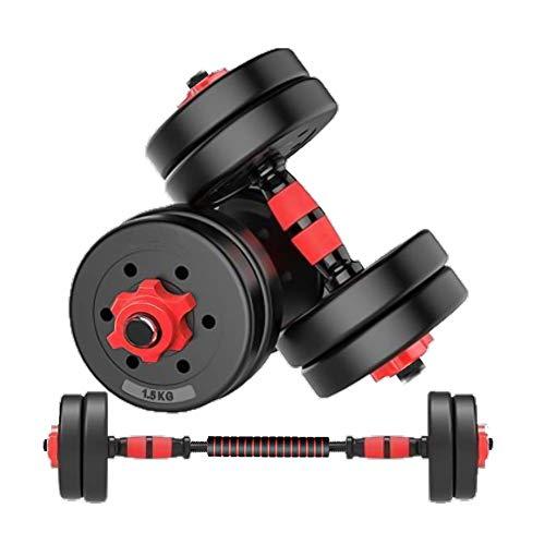 MOJEER ダンベル【最新進化版・3in1】5kg×2個セット (10kg)/10kg×2個セット (20kg)/20kg×2個セット (40kg) ポリエチレン製 筋力トレーニング ダイエット シェイプアップ 静音 (5kg×2個セット 赤 B)