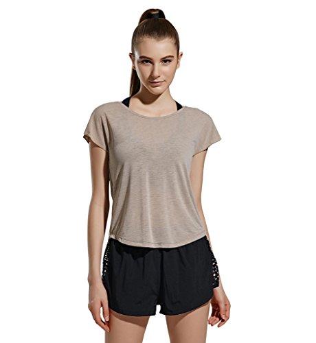 (ヒラロキ) Hilarocky レディース ヨガウェア フィットネス ヨガ トップス 半袖Tシャツ 吸汗速乾 ゆったり 無地