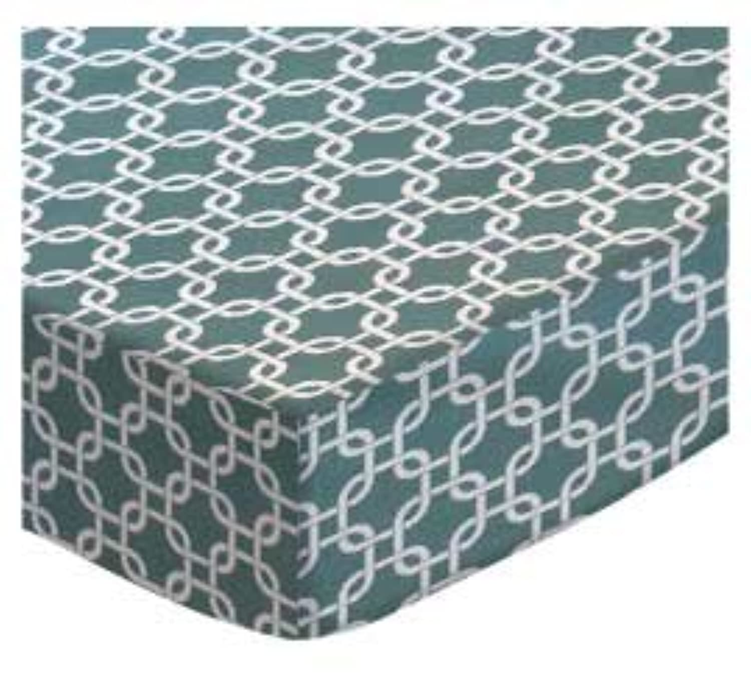 SheetWorld Fitted Square Playard Sheet 37.5 x 37.5 (Fits Joovy) - Seafoam Blue Links - Made In USA by sheetworld
