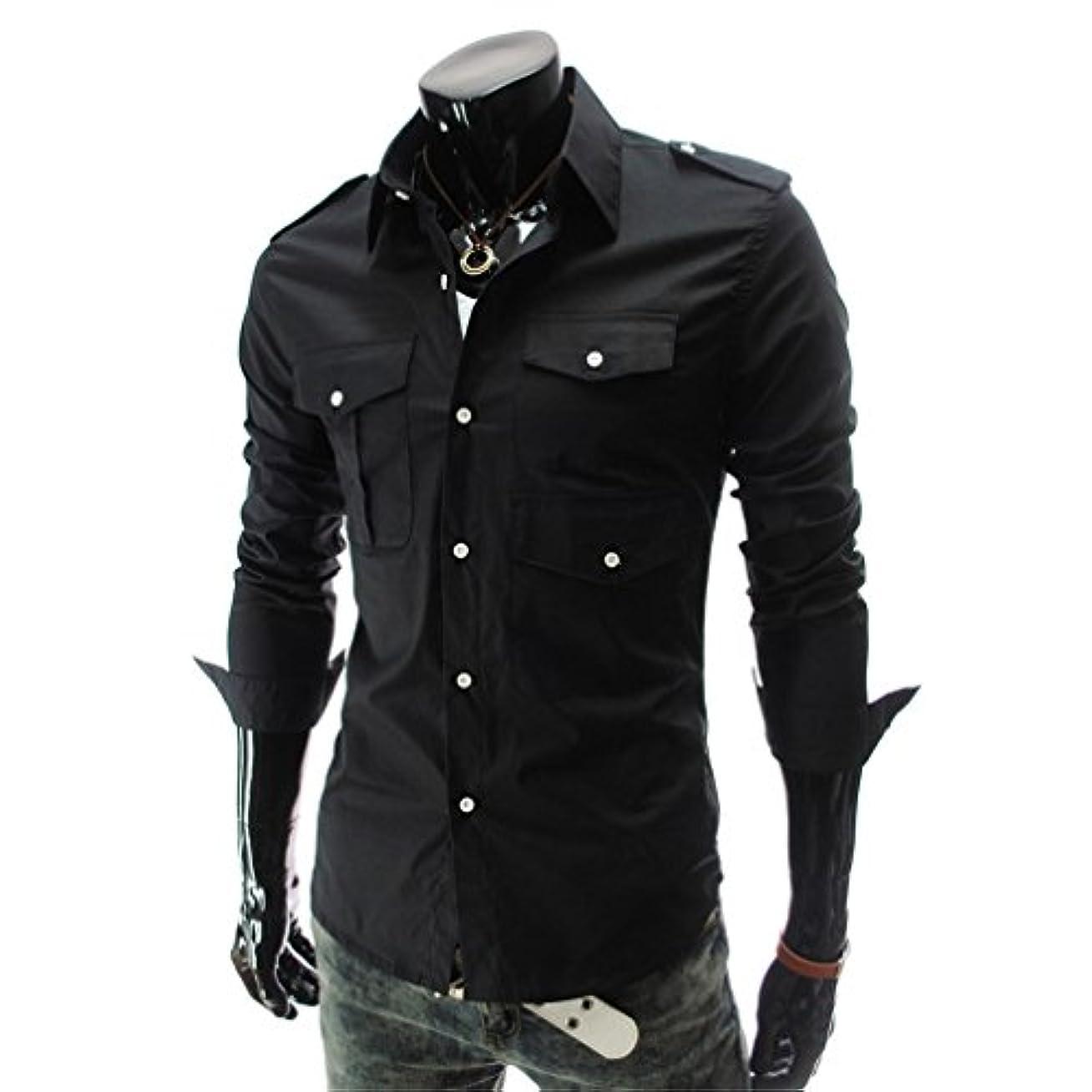 観察休日に結晶Honghu メンズ シャツ 長袖 マルチポケット バッジ スリム カジュアル ブラック XL 1PC