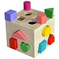 Emorefun toys 13 Hole Cube for Shape Sorter Cognitive and Matching Wooden Toys [並行輸入品]