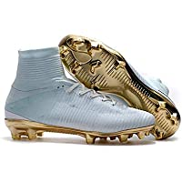 SUP-MANg White Gold Men's Football Boots Boy's Soccer Athletics Shoes High Top Sports Spikes Competition Shoes - 9909 (Color : A, Size : 6)