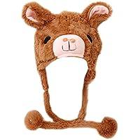 TOPTIE Girls Animal Design Winter Thermal Hat with Ears - Panda, Alpaca, Dolphin