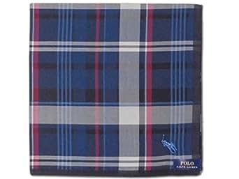[41]:Ralph Lauren ポロ・ラルフローレン ハンカチ メンズ ネイビー地 チェック柄 綿100% 日本製 50cm