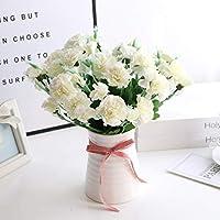 カーネーション 造花 花束 人工観葉植物 おしゃれ かわいい フラワー 花瓶付き インテリア 母の日 プレゼント お祝い 店飾り ホワイト ホワイト