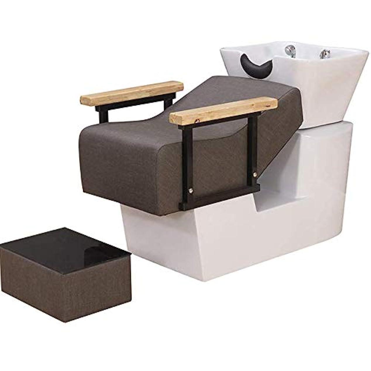 布ローマ人チャーターサロン用シャンプーチェアとボウル、スパ美容サロン機器セミ陥凹フラッシュベッドのためのヨーロッパスタイルの逆洗ユニットシャンプーボウル理髪シンクチェア