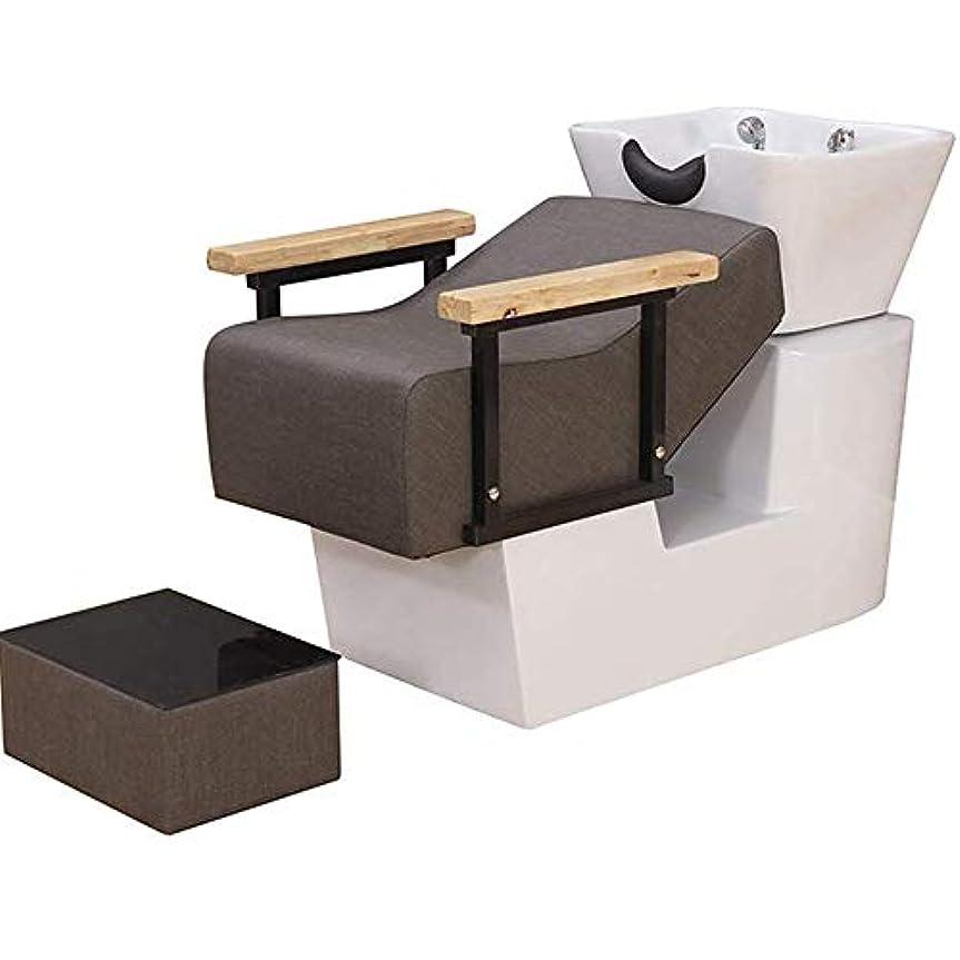 入浴バターエゴイズムサロン用シャンプーチェアとボウル、スパ美容サロン機器セミ陥凹フラッシュベッドのためのヨーロッパスタイルの逆洗ユニットシャンプーボウル理髪シンクチェア