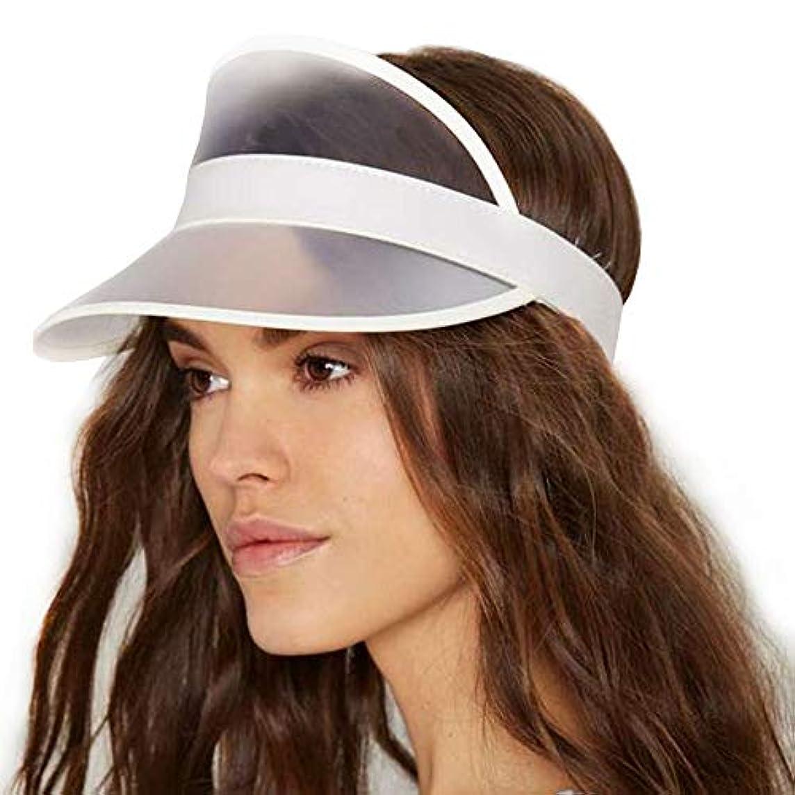 外部楽しいガムサンバイザー レディース レインハット レインバイザー 自転車 キャップ UVカット UPF50+ 紫外線対策 日焼け対策 つば広 ワイド おしゃれ 帽子 (透明)