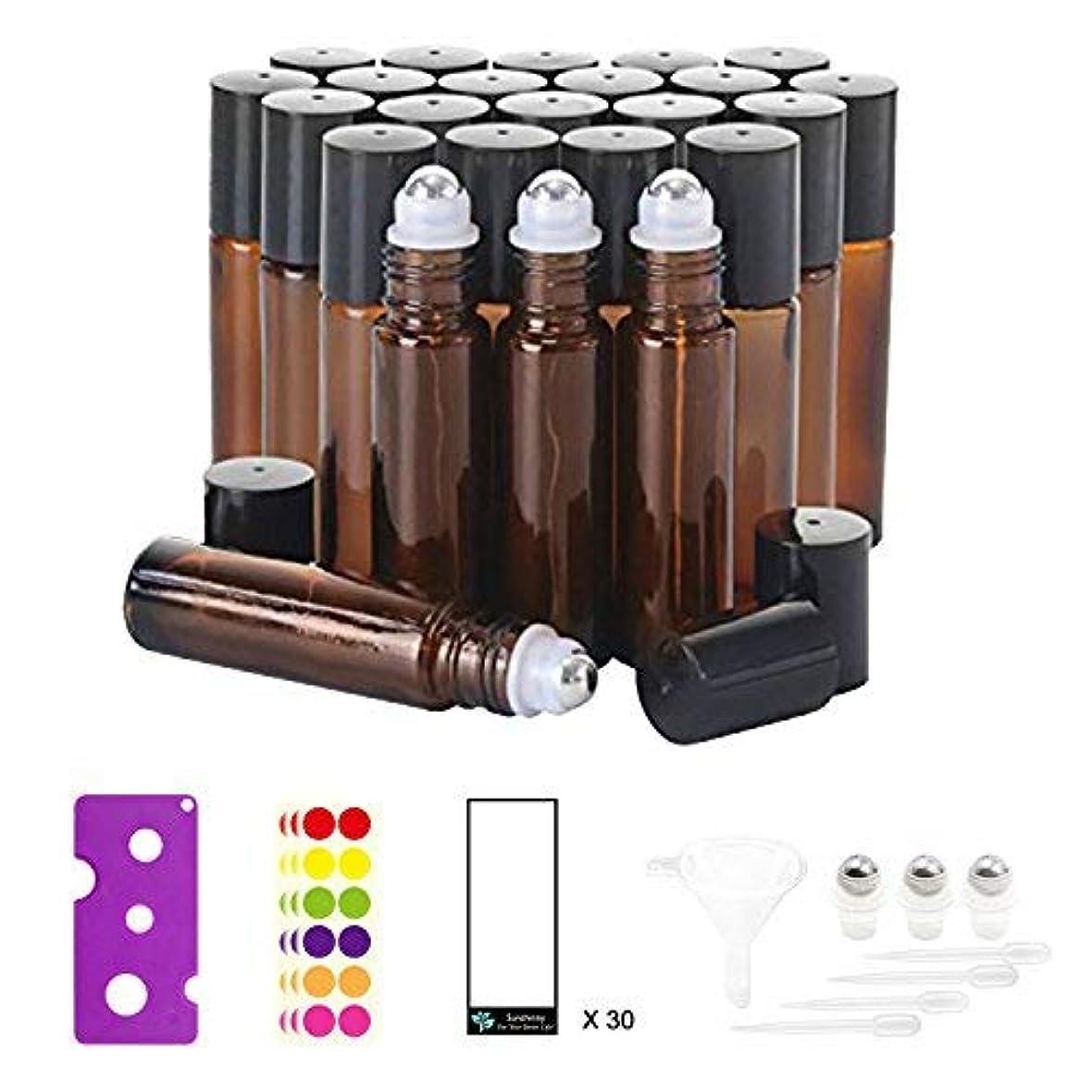 発行見捨てる消費者24, 10 ml Glass Roller Bottles for Essential Oils - Amber, with Stainless Steel Roller Balls (3 Extra Roller Balls...