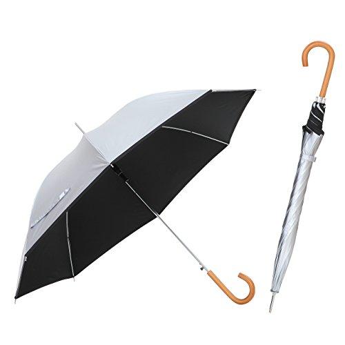 日傘 親骨60cm 直径106cm <ひんやり傘> ジャンプ傘 晴雨兼用 UPF50+ UVカット率99%以上 遮光率99%以上 遮熱効果 長傘 ワンタッチ 【LIEBEN-0102】 (シルバー/ブラック)