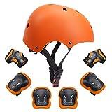 7個子供用防護服セット子供用ヘルメット膝肘リストパッド用ローラー自転車バイクスケートボードおよびその他のエクストリームスポーツアクティビティ