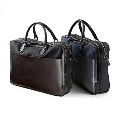 Polyester Horsehide Briefcase: Black, Navy