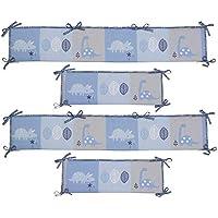 綿 ベッドレール, 漫画 恐竜 反衝突 通気性 ベッドガード 洗濯機 パッド 装飾 赤ちゃん 寝具-ブルー