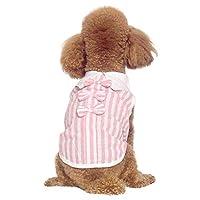 Taykooペット夏ノースリーブシャツ犬の装飾的な服ストライプ薄いコートの弓