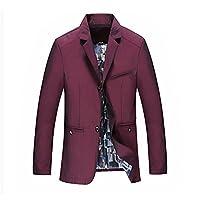 [eleitchtee]テーラード メンズ ビジネススーツ テーラードジャケット ブレザージャケット 紳士服 二つボタン 015-sjxz1414b-18010-1(3XL ワイン)