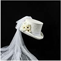 2020 Womens Hats Caps 4 Size White Victorian Gothic Steampunk Wedding Top Hat Winter Wedding Top Hat Ivory Rockabilly Fashion Casual Soft Georgian Marie Antoinette (Color : White, Size : 61cm)