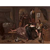Steen The Drunken Couple Beer Wine Painting Large XL Wall Art Canvas Print ビールワインペインティング壁