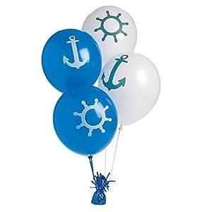 Fun Express Nautical印刷ラテックスバルーン ブルー 5211602