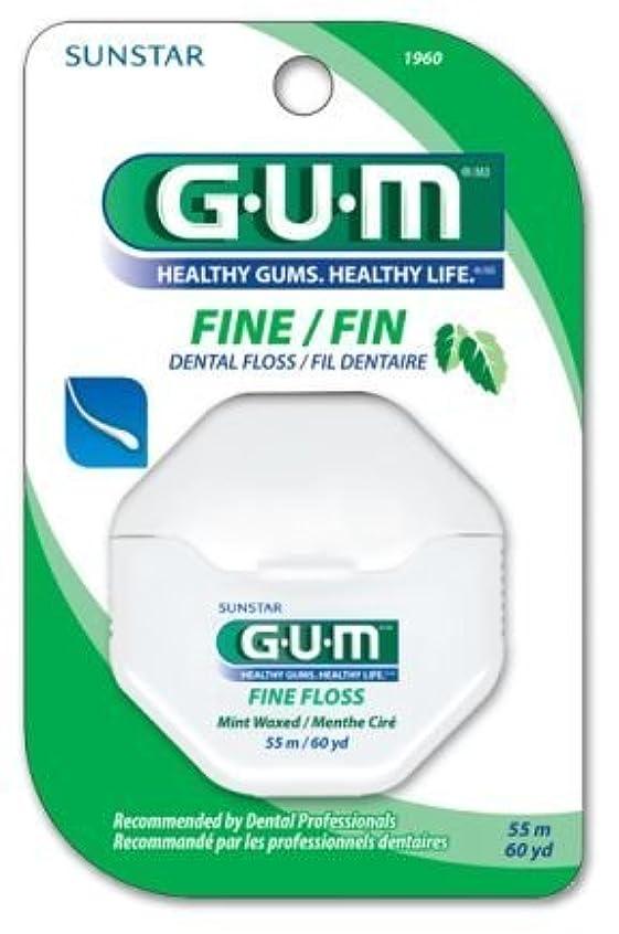 独占散髪家SUNSTAR GUM ガム デンタルフロス FINE/FIN 60ヤード(55m) ワックス付/ミントフレーバー