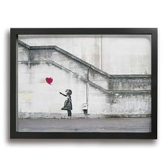My Life 壁 落書き 女の子 赤い風船 フレーム装飾画 フレーム付き 現代壁の絵 壁掛け 部屋飾り インテリア絵画 リビング絵画キャンバス アートフレーム 額縁付き 部屋装飾 新築祝い 贈り物 (木枠 30*40)