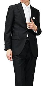 (メイシン)meisin オールシーズン 2つボタン シングルフォーマル アジャスター付 メンズ ブラックスーツ Y6 (細め/Lサイズ)