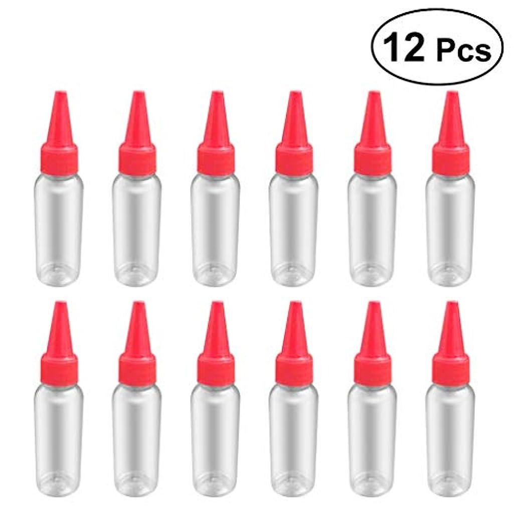 楕円形ファンド賭けSUPVOX 12ピース プラスチック アプリケーターボトル スクイズフロー デザイン チップキャップ 空ボトル 用液体 オイルグルー ディスペンサー ヘアカラー 40ml(赤)