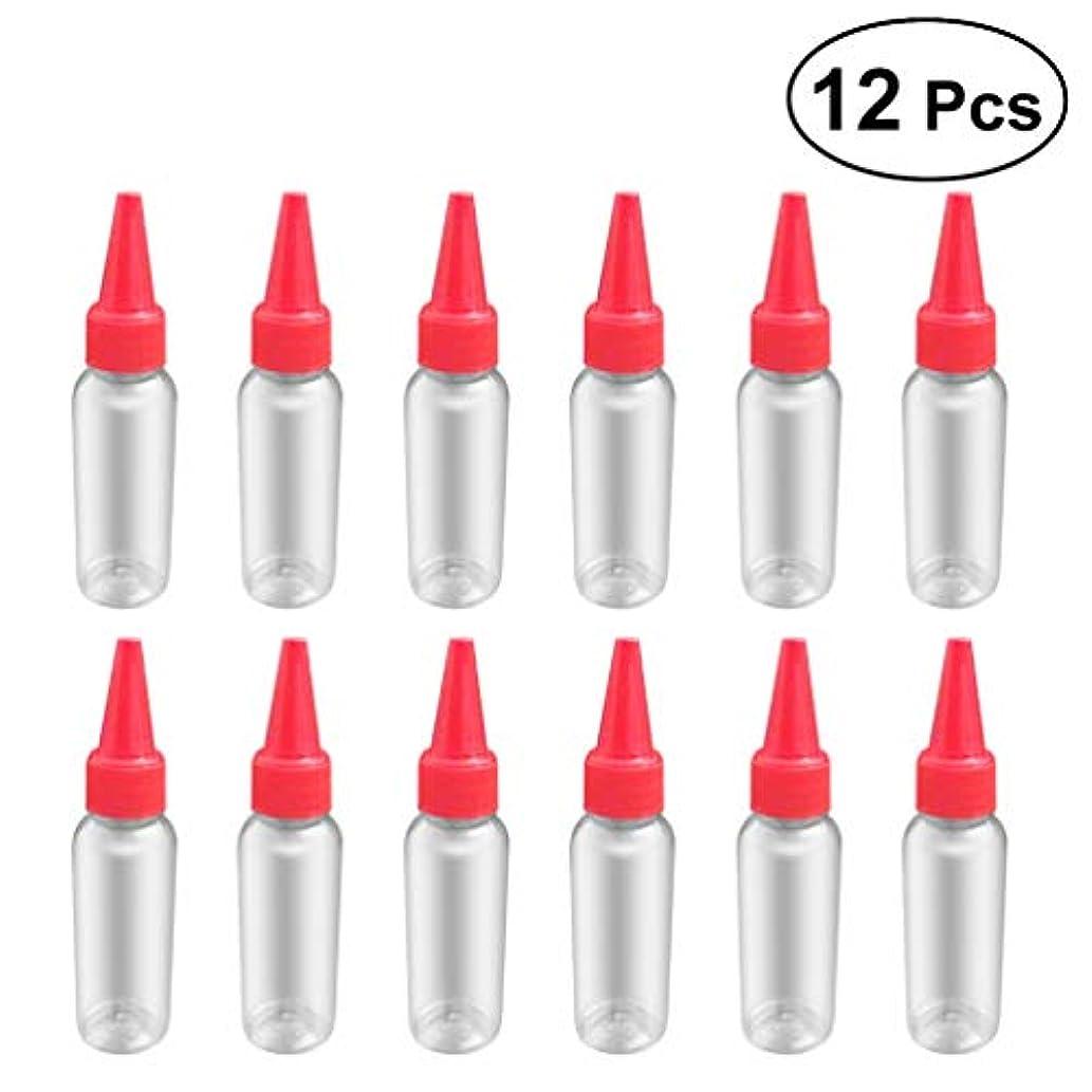 けん引であるマングルSUPVOX 12ピース プラスチック アプリケーターボトル スクイズフロー デザイン チップキャップ 空ボトル 用液体 オイルグルー ディスペンサー ヘアカラー 40ml(赤)