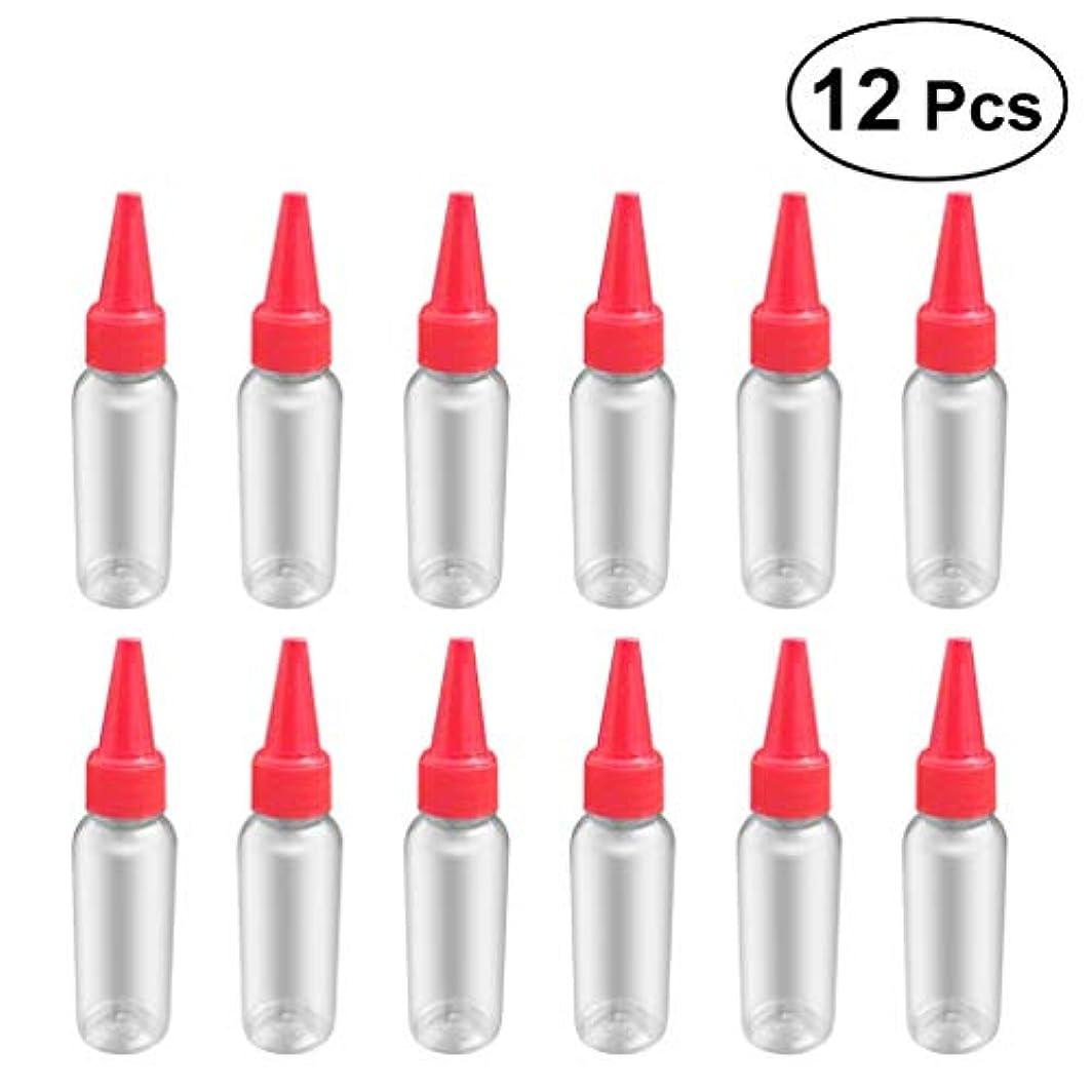 意志に反する揮発性フィードオンSUPVOX 12ピース プラスチック アプリケーターボトル スクイズフロー デザイン チップキャップ 空ボトル 用液体 オイルグルー ディスペンサー ヘアカラー 40ml(赤)