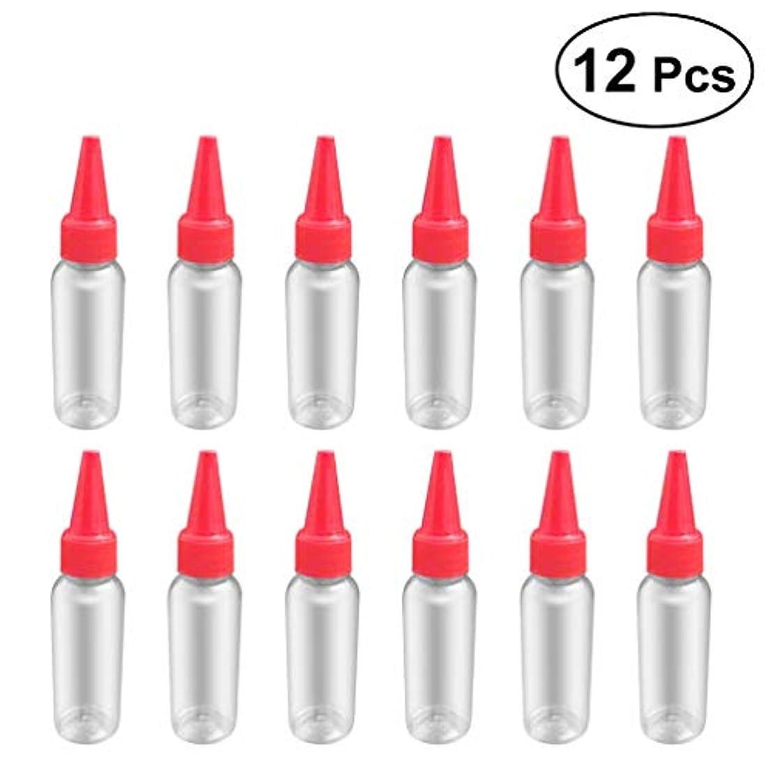 潜在的なコック謙虚SUPVOX 12ピース プラスチック アプリケーターボトル スクイズフロー デザイン チップキャップ 空ボトル 用液体 オイルグルー ディスペンサー ヘアカラー 40ml(赤)