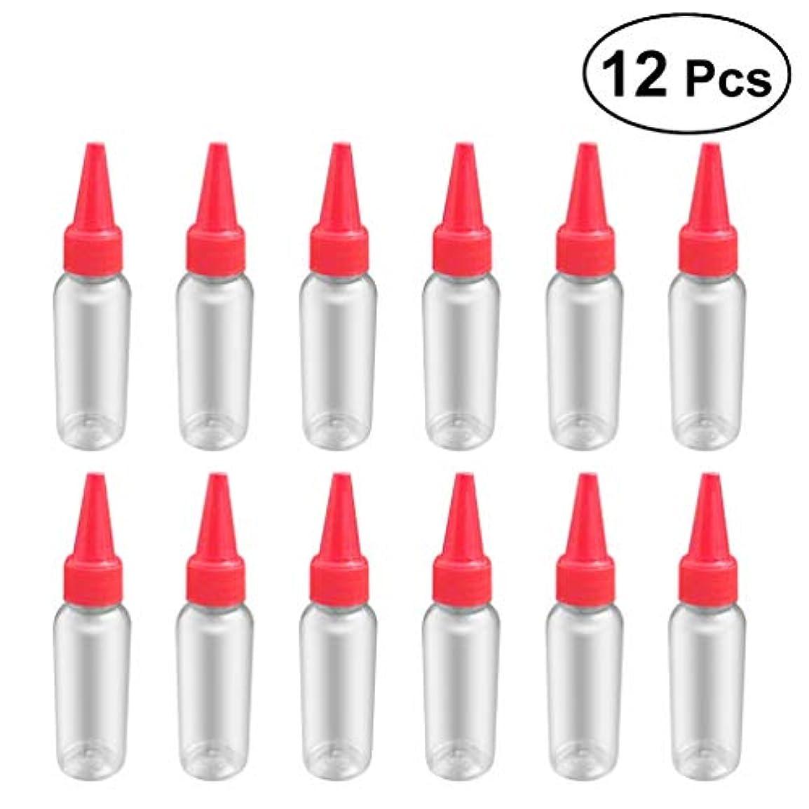 修復ペイン寝てるSUPVOX 12ピース プラスチック アプリケーターボトル スクイズフロー デザイン チップキャップ 空ボトル 用液体 オイルグルー ディスペンサー ヘアカラー 40ml(赤)