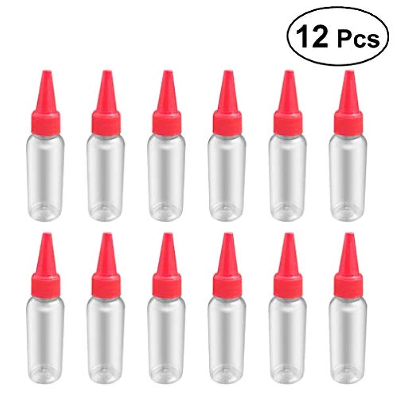 満足できる下着円周SUPVOX 12ピース プラスチック アプリケーターボトル スクイズフロー デザイン チップキャップ 空ボトル 用液体 オイルグルー ディスペンサー ヘアカラー 40ml(赤)
